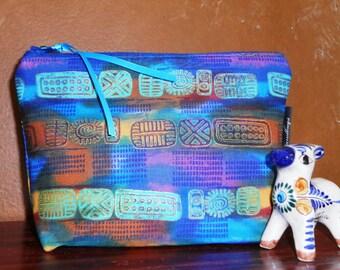 Aztec Blue Make Up Pouch / Wristlet / Cell Phone Bag / Organizer