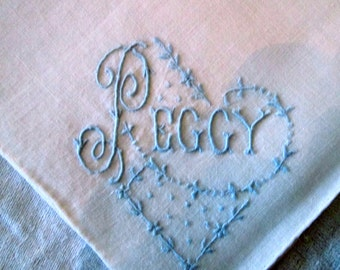 "PEGGY (SUE ) Monogrammed Hanky/Vintage /Hand- Embroidered Handkerchief /""Peggy""/ Blue onWhite /Fine Linen/ Something Borrowed Something Blue"