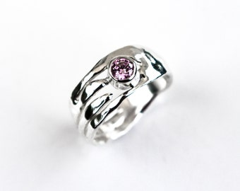 Pink Topaz Ring, Pink Topaz Silver Ring, Recycled Silver Stacking Ring, Organic Design, Gift Idea, Topaz Solitaire Ring, Elementisle