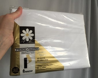 White Sheet Full Double Bed Vintage New in Package Old Stock Linens Penn Prest Fashion Manor