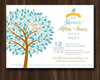Tree Baby Shower Invitation, Tree of Life Baby Shower, Baby Shower Invite