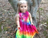 Tie Dyed American Girl Doll Empire Sundress in Sunshine Rainbow  Spiral IN STOCK and Ready to Ship