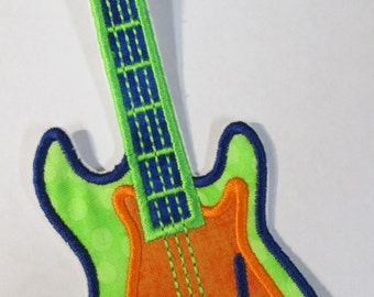 Rock Star Guitar - Iron On or Sew On Applique - Custom Made Embroidery