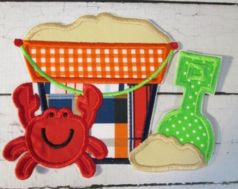 Summer Beach Sand Pail with Crab - Iron On or Sew On Embroidered Custom Made Applique