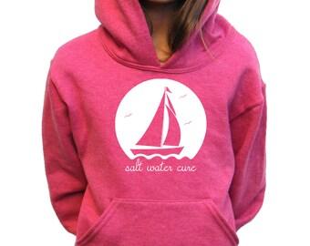 Girls Hoody - Sailing Design - Salt Water Cure - Available in S, M, L, XL - 5yo, 6yo, 7yo, 8yo, 9yo, 10, yo, 11yo, 12yo