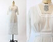 Edwardian Dress Cotton Small / Antique White Cotton Pinstripe Lace Dress / Ava Springs Dress