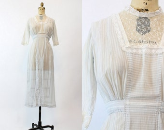 Edwardian Dress Cotton Small / Antique White Cotton Pinstripe Lace Dress / Ava Springs Dress