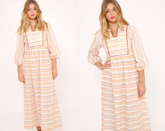 Vintage 70s STRIPED Prairie Dress BOHO Maxi Dress HIPPIE Festival Dress