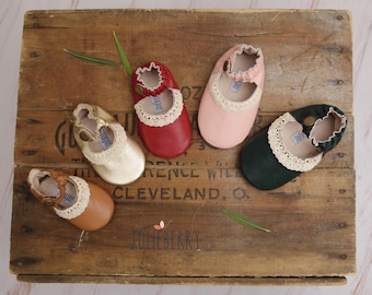 Baby Girl Shoes in Gold, Red, Brown, Green and Pink leather