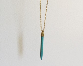 Turquoise spike necklace, turquoise necklace, spike necklace