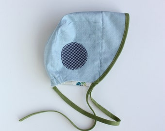 BEATRIX JONES ---x--- Little people sun Bonnet 'Bleu Dot' made from rare reclaimed + vintage fabrics - sizes Mini, 6-12mths, 12-2yrs, 2-4yrs
