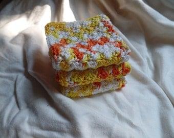 Set of 3 Crochet Washcloths / Dishcloths