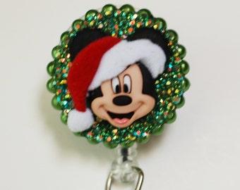 MIckey Mouse Christmas Santa Hat ID Badge Reel - Retractable ID Badge Holder - Zipperedheart