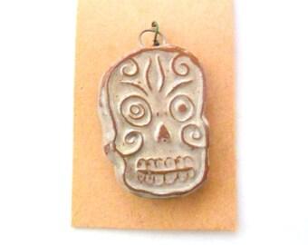 Terra Cotta Fired Clay Pendant or Bead - Dia De Los Muertos - Skull - Day of the Dead