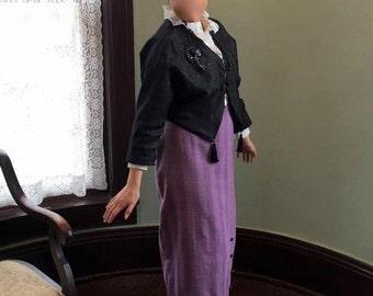 Titanic Downton Abbey 1910s Silk Walking Costume Ensemble Steampunk  Bust 34-36 Waist 30-33 Hips 42 Black Lavender Size 12 to 14