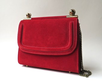 Mid Century vintage Kadin Red Suede Handbag with Gold Metal Ball and Chain Shoulder Strap