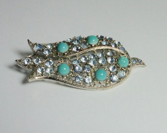 Vintage Silver tone Tulip Flower shaped Brooch with Blue Rhinestones and Faux Turquoise cabs. Pin