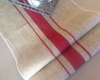 French Grain Sack  Burlap Table Runner with Red Grainsack striping   Farmhouse / Coastal / Cottage Chic / Christmas / Lake House / Cabin
