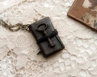 Tiny Tales - Mini Wearable Book, Black Reclaimed Leather, Tea Stained Pages, Tiny Antique Key - OOAK