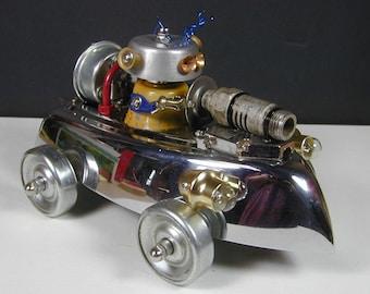 ROBOT CAR Found Object Robot Sculpture Assemblage