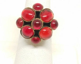 JUDY LEE Red Multi Stone Ring Vintage Signed Jewelry Adjustable