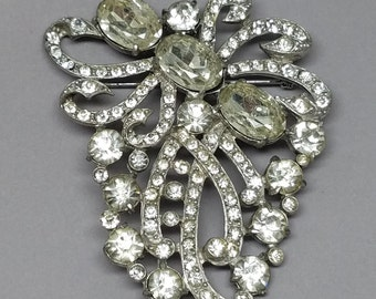 Staret Signed Vintage BIG Rhinestone Brooch 1940s Gorgeous Pin