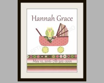 FREE SHIPPING- Nursery Art Print, Nursery Decor, Children's Art Print, Kids Room Decor, Owl,  Baby Shower, 8x10 Art Print, Personalized