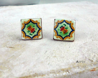 Portugal  Antique  Azulejo Tile Replica POST STUD Earrings,  Ilhavo,  Flower - (see Facade Photo) Gift Box Included - Silver Plated or Brass