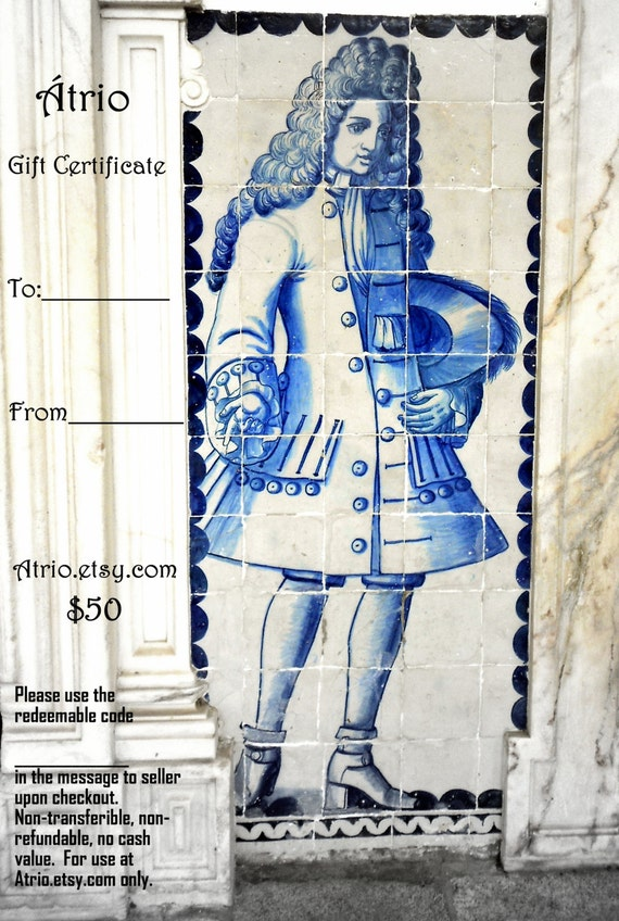 Atrio 50 Dollar GIFT CERTIFICATE Portugal Blue Antique Azulejo Tile Replica Jewelry