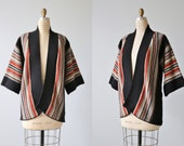 Vintage 1970s Striped Boho Cozy Throw On Sweater / Open Front /  Bell Sleeves