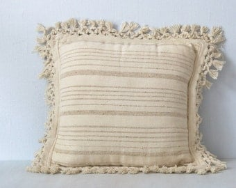 Vintage Mud Cloth Boho Woven 1970s Pillow with Fringe / Reversible / Earthy Cream