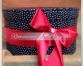 Pretty Polka Dots Wedding Card Box with Optional Bow and Rhinestone Accent...You Choose the Colors..shown in red