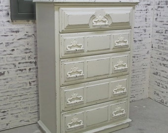 Chest of Drawers, White Classic Cottage Style - Chic DR1002 Shabby Farmhouse Chic, Chest, Nursery Furniture