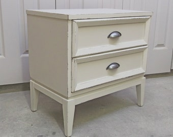 Nightstand, 2-Drawer End Table, Distressed White - NS601 Shabby Chippy Farmhouse Chic