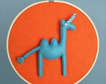 Embroidery hoop - modern whimsical decor - Camelcorn hoop - all hand sewn - swan blue and heathered orange felt colors - OOAK