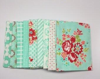 SPRING SALE - Fat Quarter Bundle (9) - Handmade in Aqua - Bonnie and Camille for Moda Fabrics