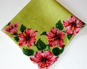 Vintage LADIES FLORAL HANKIE Hibiscus Pink/Red on Chartreuse Cotton Handkerchief Women's Accessories Shabby Chic