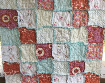 Rag Crib Quilt, Felicity, comfy cozy handmade baby bedding baby, Granny Chic, red pink and white, READY TO SHIP