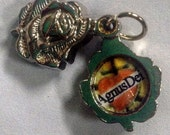 PAIR (2) silver AGNUS DEI relic swing locket medal - rose charm - Catholic religious sacramental pendant