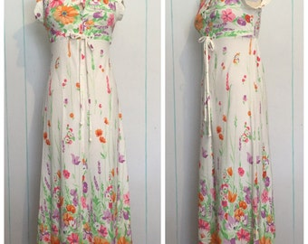 Maxi Floral Terry Cloth Dress Size 6
