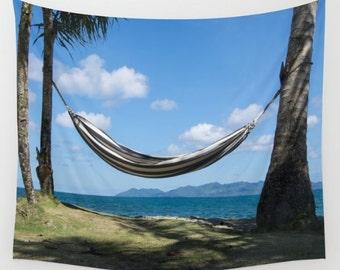 Tropical hammock tapestry, hammock on beach wall hanging, tropics beach scene tapestry, beach house art, palm tree photo, seaside hammock