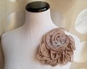 30% off sale, tan flower, vintage pink flower, Headband, Bridal Crown, Wedding Headpiece, Dress Pin,  Fascinator, champagne flower