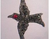 Winter SALE - Antique Beaded Applique Edwardian Bird