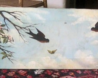 SOLD - On Layaway for Robin - Antique Painting Victorian Birds Folk Art