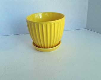 Yellow Pleated Ceramic Planter