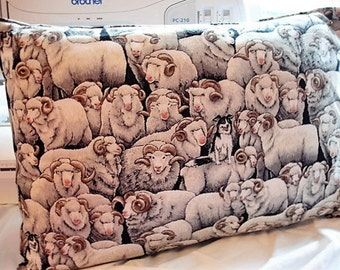 TRAVEL or ACCENT PILLOW - Merinos Gray Fabric / Satin Back - Free Shipping thru 8/4