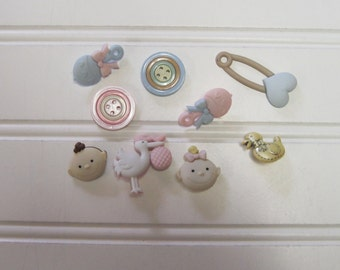 Oh Baby Buttons  Set of 9