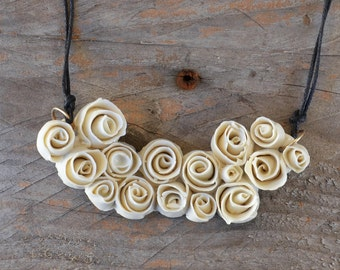 Porcelain Multiple Little roses Necklace   - Roses Necklace - Statement Necklace