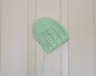 Hand Knitted - Mint Green Baby Bonnet/Hat