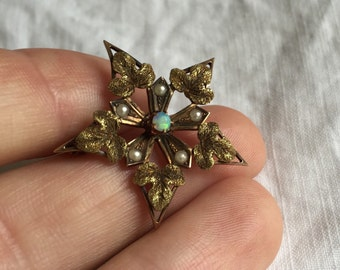 10k Opal and Pearl Victorian Star Pendant